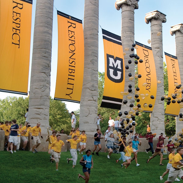 First-year students at Mizzou take part in the annual Tiger Walk tradition.
