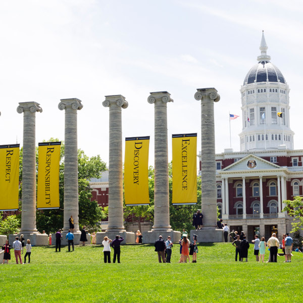 The Columns and Jesse Hall on Francis Quadrangle on the Mizzou campus.