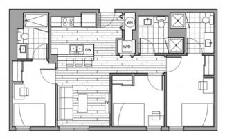 3-bedroom single suite at the Rise (floor plans may vary)